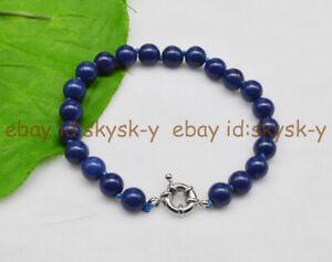 6/8/10/12mm Dark Blue Lapis Lazuli Round Beads Gems Bracelet  6.5-9.5 inches AA