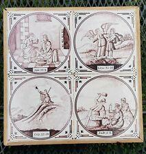 4 Dutch Delft Manganese Biblical Religious Bible Tiles Panel tableau Antique