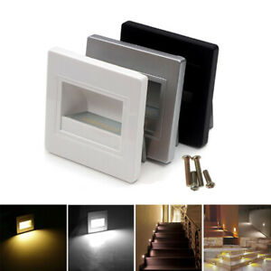 2PCS LED Recessed Lights Step Pathway Decking Wall Stair Lamp Footlight 85-240V