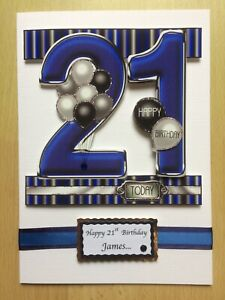 Hand-Made Male 21st Birthday Card -Can be Personalised-any relative/friend