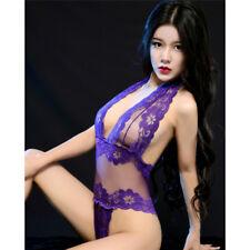Women Hot Lace Babydoll Sexy Lingerie Deep V Halter Bodysuit Chemise FEH