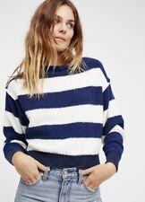 NEW Free People blue & white Striped Dolman Sleeve Boatneck Fuzzy Sweater S