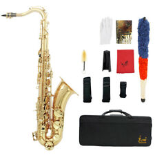 LADE Brass Bb Tenor Saxophone Sax Carved Pattern Wind Instrument with Case V7E4