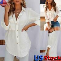 US Women Button Loose Shirt Tops Ladies Casual Long Sleeve Swallow Tailed Blouse