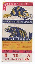 1951 Football Ticket Oregon State vs UC Berkeley
