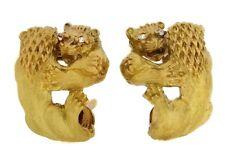 Francés DOBLE León PENDIENTES CON / Diamante en TEXTURA 18ct Oro Amarillo -