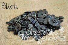 BLACK - Mixed Bulk Buttons 250+ Craft Scrapbooking Bouquet Mixed Colours