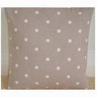 """NEW 14"""" Cushion Cover White Polka Dots Mushroom Taupe Beige Spots Brown Dotty"""