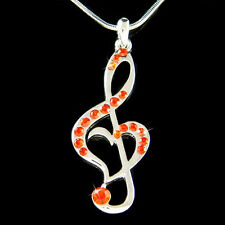 w Swarovski Crystal ~Hot Red TREBLE G CLEF MUSIC NOTE Heart Charm Chain Necklace