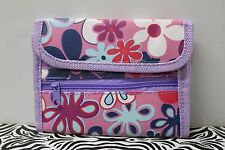 PURPLE FLOWER POWER WALLET Retro Groovy Mod 1960s Bifold Hippie Girls Women NEW