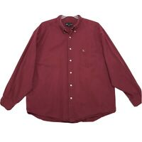 Eddie Bauer Shirt Mens Size XXL 2XL Faded Red Long Sleeve Button Front Cotton