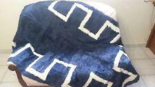 Luxury Blue  And White Astrakhan Fur Throw Real Lamb Fur Blanket / Bedspread