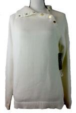 LAUREN RALPH LAUREN Women's White 2-Way Turtleneck Sweater Gold Snaps Size L