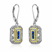 Vintage Blue Sapphire White Cz 925 Sterling Silver Gemstone Dangle Drop Earrings