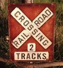RAILROAD CROSSING 2 Tracks Sign Tin Vintage Garage Bar Decor Old Round Train