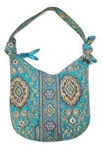 Vera Bradley Women's Small Blue Paisley Diamond Quilted Shoulder Bag