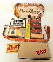 Large Bundle Raw Black Rolling Papers Single Wide Roller Pure Hemp Tray & More