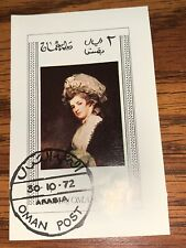 Jamaica 1972  Famous  Woman Painting On Stamp Arabia  Special Cancel  Oman Post