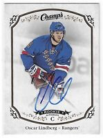 2015-16 UPPER DECK CHAMPS OSCAR LINDBERG ROOKIE AUTO RC #258 NEW YORK RANGERS