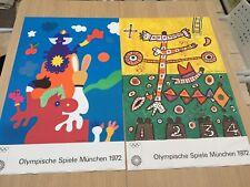 Pair Original Vintage 1972 MUNICH OLYMPICS GAMES POSTERS, Otmar Alt, Alan Davie
