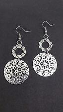 Mandala Earrings Stylish Contemporary Modern Drop Dangle Silver Tone Earrings