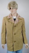 Vtg 1970's Men's STRATOJAC Faux Suede & Faux Shearling Career HiPsTeR Coat L
