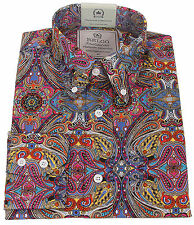 Relco Platinum Collection Satin Cotton Paisley Shirt Multi 60s Mod Skin Rsw512 XXXL