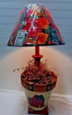 Folk Art Country Handmade Table Lamp Hand painted Clay Flower Pot / New shade