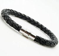 Women Men Unisex Braided Leather Steel Magnetic Clasp Bracelet Handmade NEW