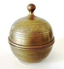 Vintage Etched Brass Lidded Pot / Bowl / Bonbonniere 13 cm