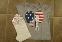 NEW Baby Toddler Girls 2 Piece Outfit 18 Mo Gray Heart Flag Top Leggings Set Lot