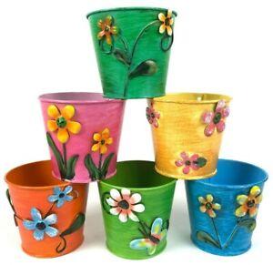 6x Blumentopf Bunt Blumen Set Pflanz Über Töpfe Topf Deko Metall Garten Balkon