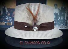 Mens Traditional Khaki Lowrider Original Frankshats Garcia hat Fedora with  pin 230193b71dc