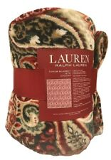 Ralph Lauren Throw Blanket Red Paisley Fleece 60 X 70 New