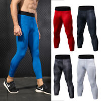 Mens Compression 3/4 Tights Sports Running Crossfit Dri fit Spandex Gym Bottoms