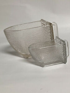 Antique 1-3 Cup, 1-6oz, Poucet Glass Scoops for Hoosier Cabinets Excellent Cond.