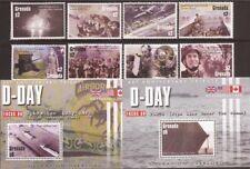 Grenada - 2004 D-Day - 8 Stamp Set + 2 S/S Scott #3451-4 - 7J-028