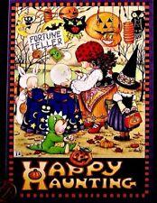 MARY ENGELBREIT Fortune Teller Kids Pumpkins Witch - Halloween Greeting Card NEW