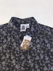 Kennington California Short Sleeve Button Down Black Floral Men's Shirt Sz L New