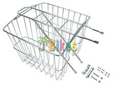 Wald 520 Rear Rack Twin Carrier Bicycle Basket, Medium - Silver
