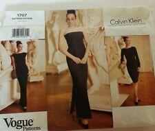 1995 Vogue Pattern CALVIN KLEIN #1707 FF Size 6-10 Sew Evening Dress Prom NEW