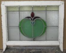 """MID SIZED OLD ENGLISH LEADED STAINED GLASS WINDOW Bulbous Floral 24.75"""" x 20.5"""""""