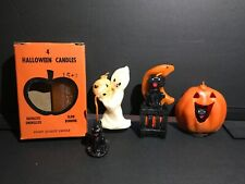 5 Vintage Halloween Candles Pumpkin, Ghost, Black Cat Moon etc gurley