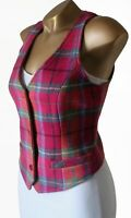 NESS Tweed Waistcoat Jacket UK 14 100% Wool Pink Multi Plaid Check Tailored NEW