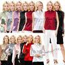 Elegant Lady Satin Faux Silk Shirts Button Tops Blouse Plain Soft Women Shirt