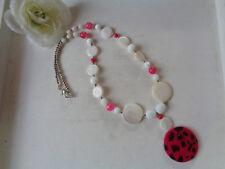 Wunderschöne Halskette Perlmutt-Perlen weiß-pink   UNIKAT