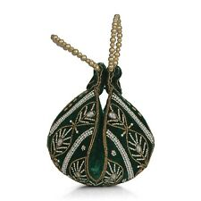 Forest Green Velvet Embroidered Leaf Pattern Potli Fortune Cookie Bag Handbags