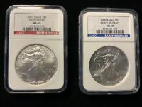 2 NGC CERTIFIED MS 69 SILVER EAGLES 2005 FIRST STRIKE, 2009 EARLY RELEASES