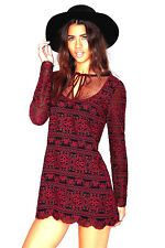 NEW NWT $98 NASTY GAL CUTOUT BACK BLACK & BURGUNDY EMBROIDERED LACE DRESS L- XL