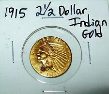 1915 GOLD US $2 1/2  DOLLAR INDIAN HEAD QUARTER EAGLE PHILADELPHIA MINT COIN